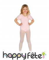 Body rose courtes manches pour fille