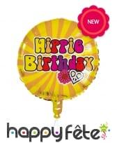 Ballon rond d'anniversaire style Hippie, 45cm, image 1