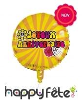 Ballon rond d'anniversaire style Hippie, 45cm, image 2
