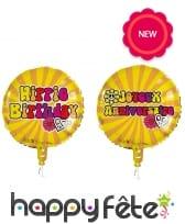 Ballon rond d'anniversaire style Hippie, 45cm