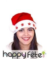 Bonnet rouge de Noël avec étoiles lumineuses