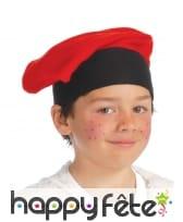 Beret rouge enfant, tour de tête noir