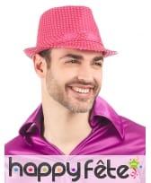 Borsalino rose fluo recouvert de sequins, image 1