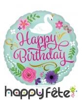 Ballon rond Happy Birthday cygne fleuri de 43 cm
