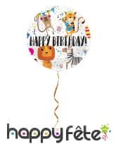 Ballon rond happy birthday dessins d'animaux, 45cm, image 1