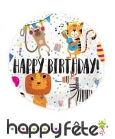Ballon rond happy birthday dessins d'animaux, 45cm