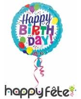 Ballon rond Happy Birthday fond bleu de 43 cm