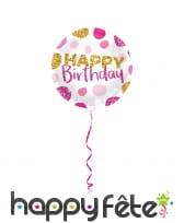 Ballon rond happy birthday rose doré pailleté 45cm