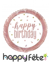 Ballon rond happy birthday rose et blanc de 45 cm