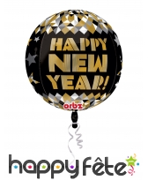 Ballon rond Happy New Year doré de 40cm