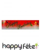 Banderole rouge happy birthday de 16 x 244 cm
