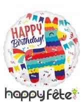 Ballon rond lama Happy Birthday de 43 cm