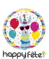 Ballon rond lama multicolore party, 45 cm