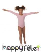 Body rose longues manches, pour enfant