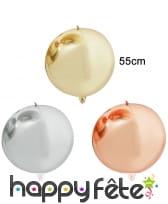 Ballon rond métallique de 55cm