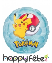 Ballon rond Pokemon Pikachu heureux de 43 cm