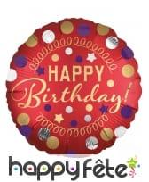 Ballon rond rouge Happy Birthday doré de 43 cm