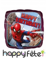 Ballon Spider-man Happy Birthday carré de 43cm