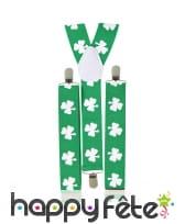 Bretelles Saint Patrick imprimé trèfles, image 1