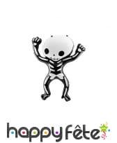 Ballon squelette rigolo noir et blanc de 84cm