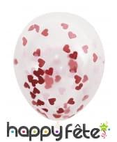 Ballons Saint valentin avec confettis coeurs