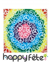 Bandana tie and dye Peace multicolore de 55 cm
