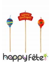 Bougie thème anniversaire sur pic