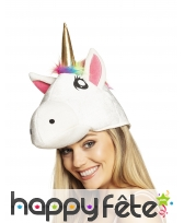 Bonnet tête de licorne pour adulte