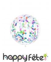Ballon transparent géant avec imprimé confettis 1m