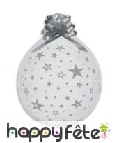 Ballon transparent motif étoiles avec noeud cadeau