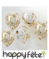 Ballons transparent Oh Baby avec confettis dorées