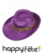 Borsalino violet bandeau léopard