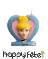 Bougie visage de Cendrillon en 3D coeur, 5,5 cm