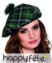 Béret vert écossais pour femme