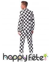 Costume 3 pièces à larges carrés blancs noirs, image 1