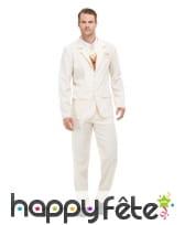 Costume 3 pièces blanc pour homme, image 3