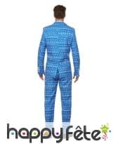 Costume 3 pièces bleu motif papier cadeau, image 1