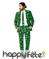 Costume 3 pièces imprimé cannabis