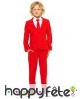Costume 3 pièces rouge uni pour enfant