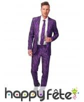 Costume 3 pièces violet imprimé tigre