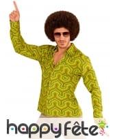 Chemise années 70 camaïeu de verts pour homme