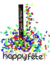 Canon a confettis papier rectangles multicolores