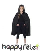 Cape à capuche noire, pour enfant