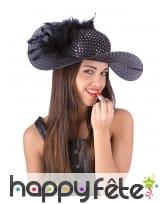 Chapeau ample chic paillettes noires