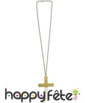 Collier avec croix dorée de 11cm, image 1