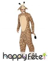 Combinaison à capuche de girafe pour adulte