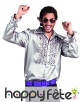 Chemise argentée disco ruche pour homme