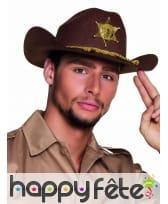 Chapeau adulte marron de shériff