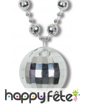 Collier avec pendentif boule Disco, argenté, image 1
