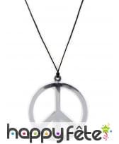 Collier avec pendentif peace and love argenté